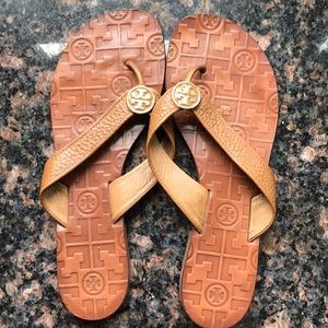 Tory Burch Leather Flip Flops- Sz. 7- Good!